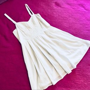 French Connection White Dress(Size 8) Weaved Front